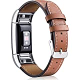 Hotodeal Replacement Leather Band Compatible for Charge 2, Classic Genuine Leather Wristband Metal Connector Watch Bands, Fit