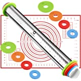 Quellance Roller Pin, Adjustable Stainless Steel Rolling Pins with 4 Different Inch Thickness Rings and Pastry Mat for Baking