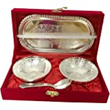 Handmade Designer 2 Bowls 2 Spoons 1 Tray with Comes with Gift Pack use for Dry Fruits, Gifting Purposes on Wedding Aniversar
