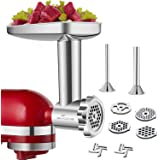 GVODE Stainless Steel Food Grinder Accessories For KitchenAid Stand Mixers Including Sausage Stuffer, Stainless Steel,Dishwas