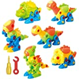 ToyVelt Dinosaur Toys Take Apart Toys with Tools (218 Pieces) - Pack of 6 Dinosaurs with 12 Tools and A Beautiful Container -