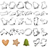 Cookie Cutters, 26 PCS Star Heart Cookie Cutters Shapes, TAOUNOA Metal Cookie Cutters for Christmas, for Kids, for Cakes, Muf