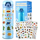 Gift for Boys, Decorate Your Own Water Bottle for Boys with Fun Stickers Crafts Kit and DIY Arts Set Blue Vacuum Insulated Tr