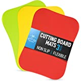Zulay Extra Thick Flexible Cutting Board Mats for Kitchen - 100% Non Slip Textured Bottom Grip Prevents Slipping on Most Coun