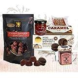 "Gift Food Hamper ""English Morning Tea"" with Scottish Jam, Shortbread Biscuits, UK Co Loose Tea in Mini Tin, Chocolates, Caram"