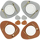 Olrla Dual-Sided Placemat and Coaster Sets of 4, PU Leather Waterproof Heat-Resistant Wipeable Dining Table Mats for Home Kit