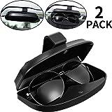 2 Packs Car Glasses Holder Sun Visor Glasses Case, Universal Automotive ABS Eyeglasses Holder Protective Box Clip Eyewear Har