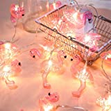 DOMESTAR Pink Flamingo Lights, Outdoor LED String Lights 3m Set of 20 LED Battery Operated Flamingo Fairy Lights Tropical The