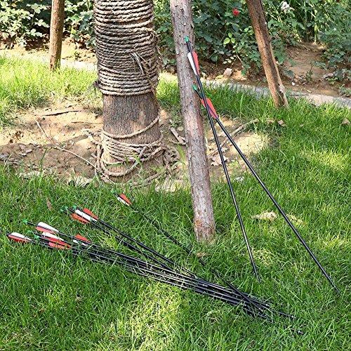 VERY100 アーチェリー完成矢 カーボン矢 炭素矢 弓具 7.6mm 30インチ 12本セット 丸頭と尖頭の先端がランダム出荷