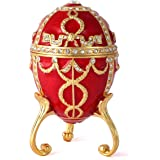 QIFU Faberge Egg Series Hand Painted Jewelry Trinket Box with Rich Enamel and Sparkling Rhinestones Unique Easter Day Gift