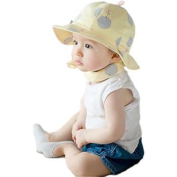 2f647557ca265 アップルスノー(applesnow) 赤ちゃんを日差しから守る ベビー 用 つば 付き ハット 水玉 丸洗い OK 男女 兼用 帽子 男の子 女の子  (イエロー)