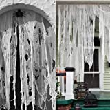 longsen Halloween Decoration Creepy Cloth, 9.84yd x 2.1yd Super Size, Spooky Fabric Cloth for Haunted House Halloween Party D