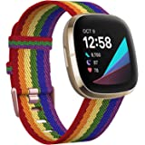 KIMILAR Woven Band Compatible with Fitbit Versa 3 / Fitbit Sense Bands, Small Large Soft Woven Fabric Breathable Accessories