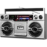Victrola VBB-10-SLV Retro Boombox Bluetooth Wireless Cassette AM/FM(Silver)