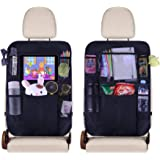 """JUSTTOP Black Car Back Seat Organizer Multipurpose Use as Auto Seat Back Protector, Kick Mat, Car Organizer with Clear 10"""" Ta"""