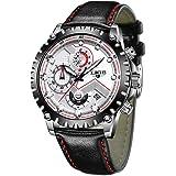 LIGEメンズ うて時計 ブラックアナログクォーツ 腕時計 レザー ビジネス ファッション カジュアルうて時計 ラグジュアリークラシック 防水 時計 スーツ 多機能 スポーツ時計