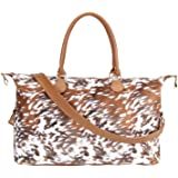Brindle Cow Print Weekender Bag Duffle Bag For Women Large Travel Tote Bag Overnight Weekend Bags With Shoulder Strap