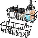 Farmhouse Decor Metal Wire Bathroom Storage Organizer Basket Bins - for Cabinets, Shelves, Closets, Vanity Countertops, Under