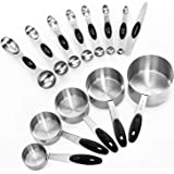 Warmheart Measuring Cups and Magnetic Measuring Spoons Set, Stainless Steel 5 Cups and 7 Spoons and 1 Levele (13 Pcs Measurin