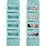 Over The Door Hanging Organizer with 5 Large Clear Window Pocket, Wall Mount Storage Organizer with 2 Metal Hooks for Pantry
