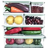 MineSign Plastic Food Storage Containers With Lids Set Of 6 Pieces Stackable Refrigerator Organizer Leakproof Pantry Kitchen