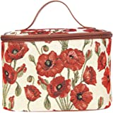 Signare Tapestry Red and White Round Large Cosmetic Bag Travel Makeup Organiser Case with Handle Holder with Poppy Flower (TO