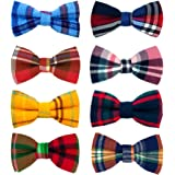 PET SHOW 8pcs Christmas Plaid Small Dogs Collar Bow Ties Puppies Cats Collar Charms Accessories Slides Attachment Bowties for