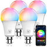 HaoDeng WiFi LED Light, 4Pack Smart Bulb -Timer& Sunrise& Sunset- Dimmable, Multicolor, Warm White (Color Changing Disco Ball