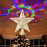 Ywlake Christmas Tree Topper Lights, LED Light Up Lighted Star Christmas Top Topper Projecter with Projection for Indoor Outd