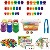 Rainbow Counting Bear, 127 Pieces of Rainbow Sorting Bear Toy Set, with Matching Sorting Cup Dice and Tweezers Montessori Mat
