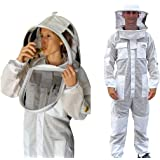 OZ ARMOUR Beekeeping Suit 3 Layer Ventilated Beekeeper Costume with 2 Hoods Fencing & Round Hat (Large)