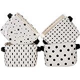 Sea Team Foldable Mini Square New Black and White Theme 100% Natural Linen & Cotton Fabric Storage Bins Storage Baskets Organ
