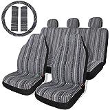 Copap Black & Gray Baja Saddle Blanket Car Seat Covers with Steering Wheel Cover & Seat Belt Protectors 10pc Universal Seat C