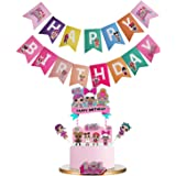 LOL Birthday Banner Party Supplies Decorations, Pink Cake Topper Decorations for Baby Theme Party Cute Baby Theme Party Decor