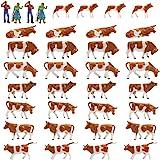 牛模型 ウシ模型 人間 人形 人物 1:87 36本入り 養殖場 牧場 牛場の建築用ウシ形モデル 庭 マイクロ風景 情景コレクション 装飾 レイアウト・ジオラマ・教育・DIY