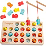 Coogam Wooden Magnetic Fishing Game, Fine Motor Skill Toy ABC Alphabet Color Sorting Puzzle, Montessori Letters Cognition Pre