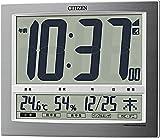 CITIZEN シチズン 置き時計 電波時計 温度・湿度計付き パルデジットワイド シルバー 19.4×24.2×3.2cm 140 8RZ140-019