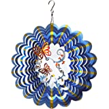 FONMY Wind Spinner Stainless Steel 3D Hanging Garden Decoration for Indoor Outdoor Multi Blue Color Twins Butterfly Metal Win