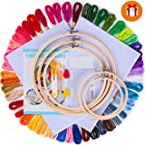 77 Pieces Embroidery kit Full Range of Cross Stitch Starter Kit with 5 Pieces Embroidery Hoop, 50 Color Embroidery Thread, 2