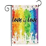 Hexagram Gay Pride Garden Flag,Burlap Double Sided Banner Yard LGBT Rainbow Flag,Outdoor Watercolor Splash LGBT Pride Decor S