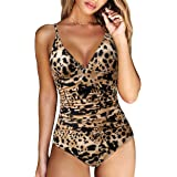 RXRXCOCO Women V Neck One Piece Swimsuits Tummy Control Ruched Swimwear Halter Bathing Suit