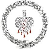 HH Bling Empire Unisex Iced Out Hip Hop Silver Gold Cz Diamond Bubble Broken Heart Pendant Chain Necklaces