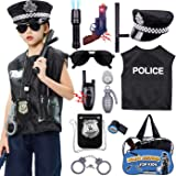 12 Pcs Police Costume for Kids Police Officer Role Play Toy Kit with Police Hat, Vest, Badge, Walkie Talkies, Flashlight Poli