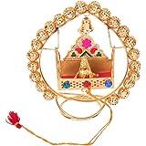 Itiha Golden Beads Balgopal Jhula Showpiece Lord Krishna Murti Statue/Indian Handicraft/Shri Krishna/Bal Gopal Showpiece