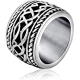 Mens 14.3mm Thumb Silver Punk Stainless Steel Biker Ring Big