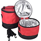 [シャンディニー] 大きめ 鍋帽子 鍋カバー 鍋保温 弁当 保温袋 携帯 ショルダー 大容量 防水 ランチバッグ 176-01 レッド 1.5L