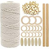 SNOWINSPRING Macrame Cord Natural Cotton Rope 3mm with Wood Ring Wood Stick for DIY Teether Macrame Kit Wall Hanging Plant Ha