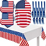 4th of July Patriotic Party Tableware Set - American Flag Plates Napkins Independence Day Tablecloth Decorations - Fourth of