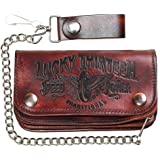 """Men's Lucky 13 Traditional Speed Embossed 6"""" Chain Wallet Brown"""