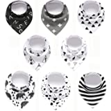 Set of 8 - Baby Bandana Drool Bibs for Boys and Girls, 100% Organic, Unisex Set for Teething and Drooling, Super Absorbent So